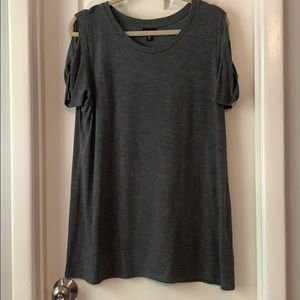 Mossimo gray sweater cold shoulder top tunic XL